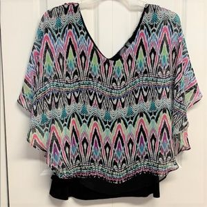 Rafaella Layer Blouse Size L Multi Color Print